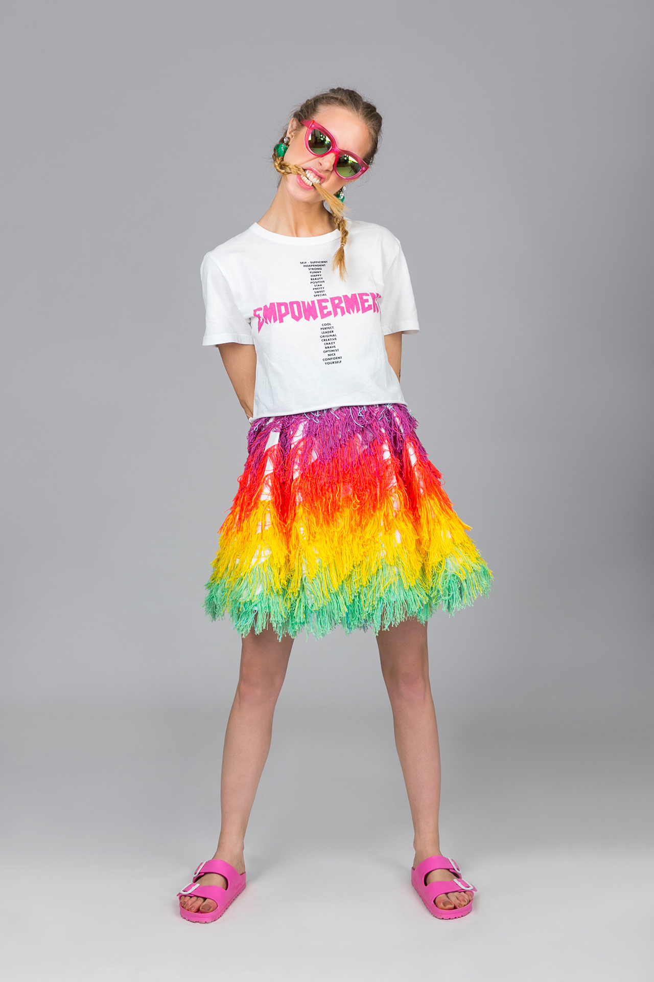 Loomed Rainbow Skirt - Sex On The Beach  Pcp Clothing-2918